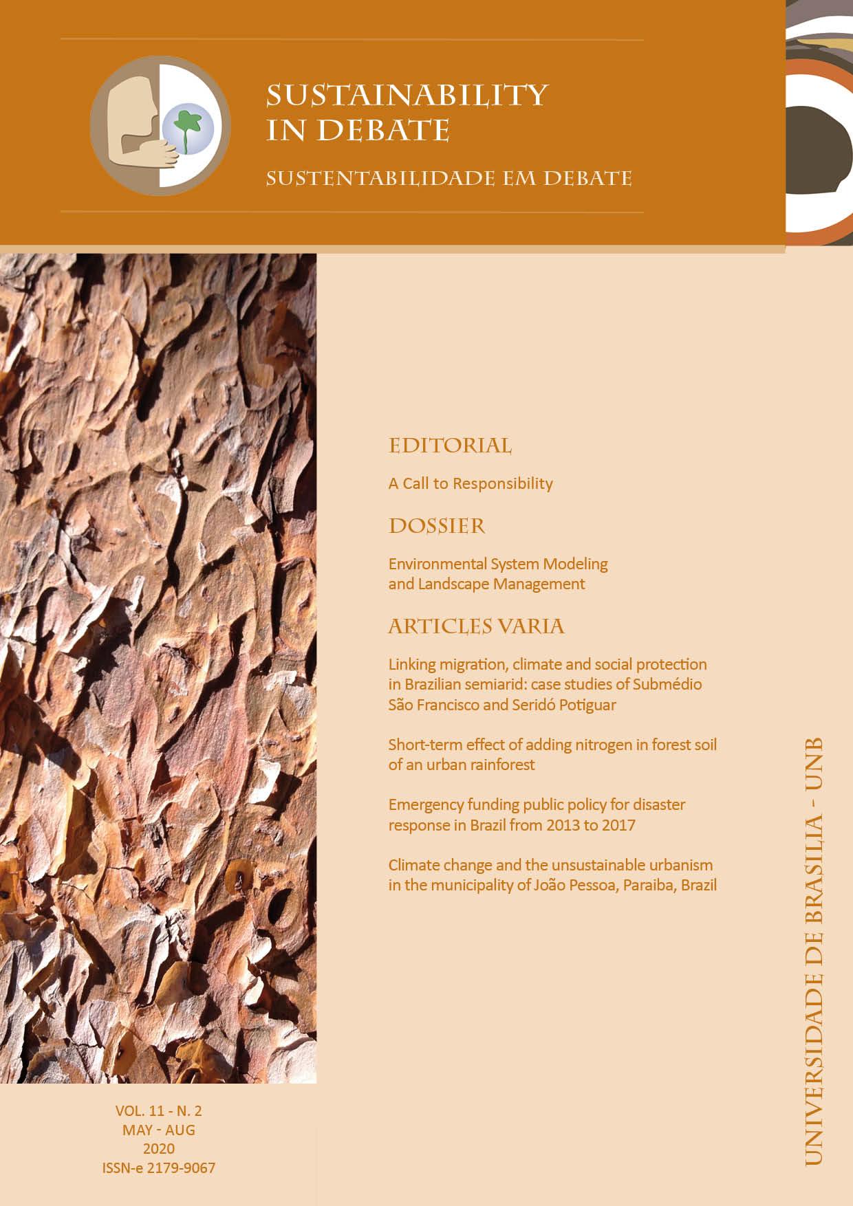 Visualizar v. 11 n. 2 (2020): Sustainability in Debate / Sustentabilidade em Debate
