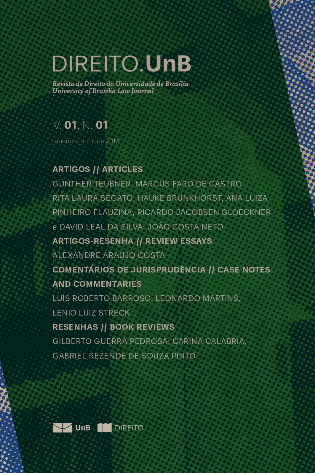 Capa da Revista Direito.UnB Volume 1, Número 1