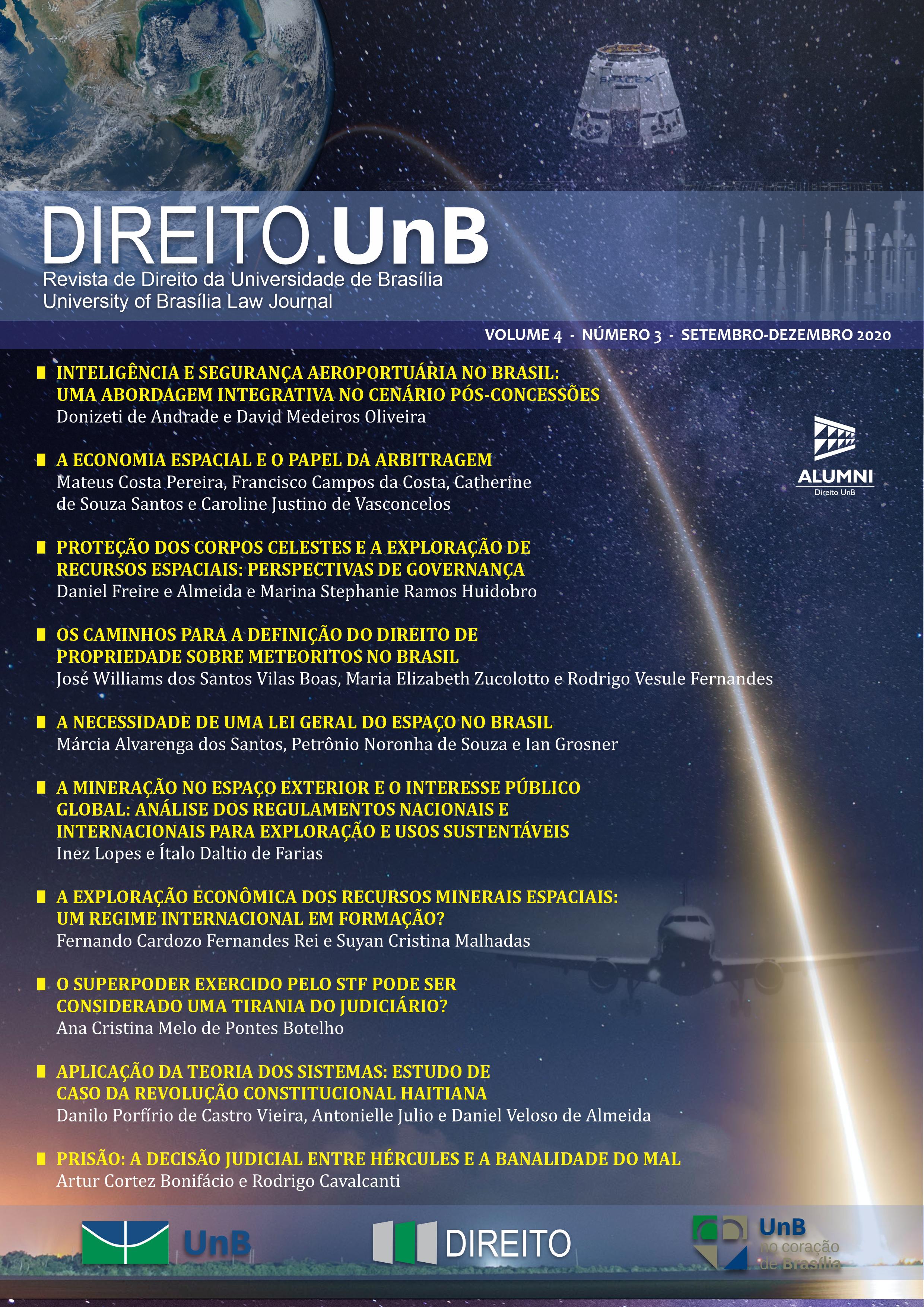 Capa da Revista Direito.UnB Volume 4, Número 3 - Edição Especial - Aviação Civil e Direito Espacial: aspectos regulatórios nacionais e internacionais